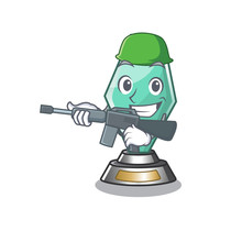 Army Acrylic Trophy Cartoon Shaped On Character