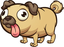 Fat Cartoon Pug With Tongue Out Clip Art. Vector Illustration With Simple Gradients. All In A Single Layer.