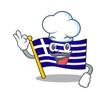 Chef greece character flag hoisted on mascot pole