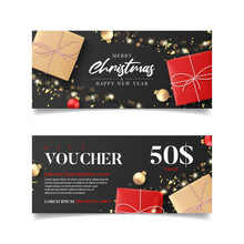 Gift Voucher For New Year And Christmas Sale. Vector Illustration With Realistic Gift Boxes, Light Garlands, Christmas Balls And Confetti. Design Of Discount Coupon Usable For Invitations Or Tickets.