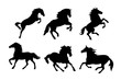 Running and jumping horse silhouette.