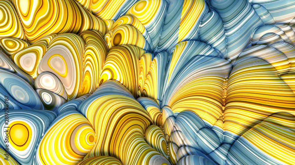 Fototapeta Colorful volumetric abstract background with texture. 3d illustration, 3d rendering.