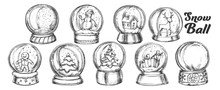 Christmas Snow Balls Souvenir Vintage Set Vector. Collection Different Toys In Glass Snow Balls. Xmas Present Decoration Sphere Template Designed In Retro Style Monochrome Illustrations