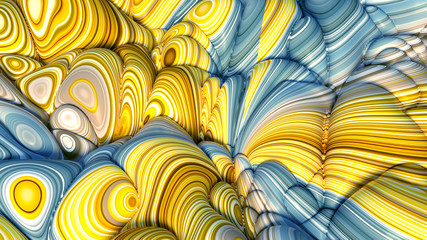 Colorful volumetric abstract background with texture. 3d illustration, 3d rendering.