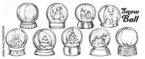 Christmas Snow Balls Souvenir Vintage Set Vector. Collection Different Toys In Glass Snow Balls. Xmas Present Decoration Sphere Template Designed In Retro Style Monochrome Illustrations - 289225784