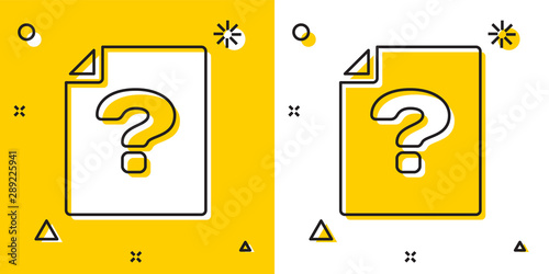 Carta da parati  Black Unknown document icon isolated on yellow and white background