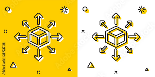 Cuadros en Lienzo Black Distribution icon isolated on yellow and white background
