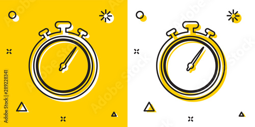 Black Stopwatch icon isolated on yellow and white background Canvas Print