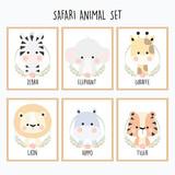 Fototapeta Fototapety na ścianę do pokoju dziecięcego - Cute Safari Animal Set