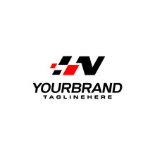 Auto Speed Letter N With Race Element Logo Template Vector