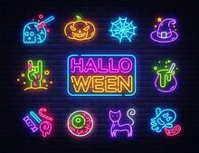 Halloween Neon Icons Set. Happ...