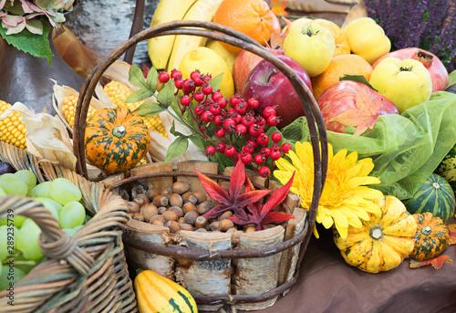 herbstliche Dekoration - Korb mit haselnüssen, Äpfel, Quitten, Kürbisse, Trauben, Vogelbeeren - 289235739