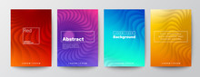 Set Of Minimal Abstract Spiral Circle Curved Shape On Vivid Red, Purple; Blue And Yellow Gradient Colors Background. Background For Brochure, Flyer, Poster, Leaflet, Annual Report, Book Cover, Banner
