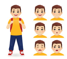 School Boy With Backpack Emotions Set Isolated Vector Illustration