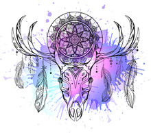 Mystical Illustration Of Deer ...