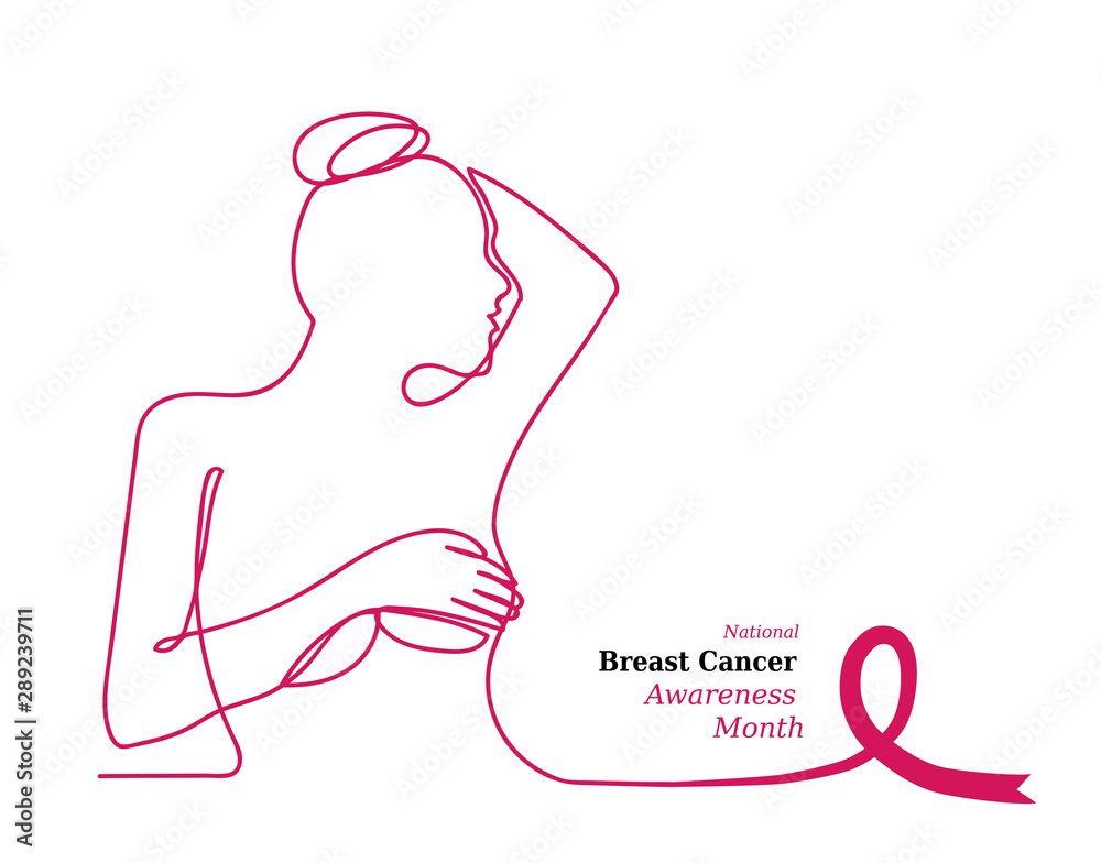 Fototapeta Pink ribbon,womens breast outline vector illustration. One line drawing concept, poster for Pink ribbon, National Breast Cancer Awareness Month.
