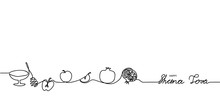 Happy Shana Tova Simple Black And White Banner, Background. Shana Tova One Line Continuous Drawing Banner.