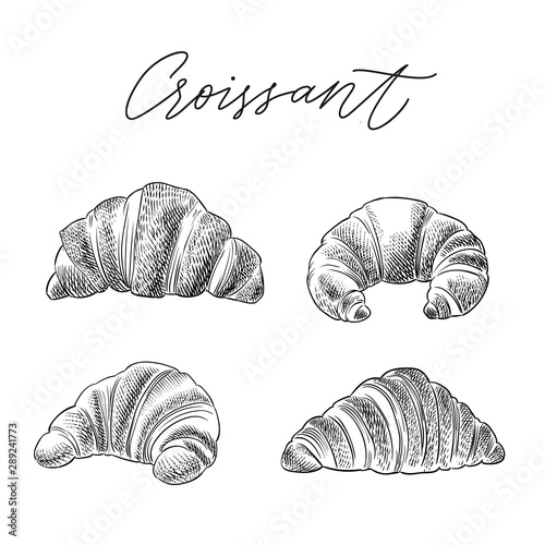 croissant hand drawn sketch vector set Wallpaper Mural