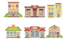 City Public Buildings Facades Set, Fresh Fruits, Confectionery, Art Shop Vector Illustration