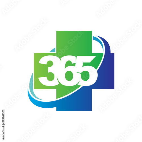 Fototapeta Health cross 365 infinity logo icon design illustration vector