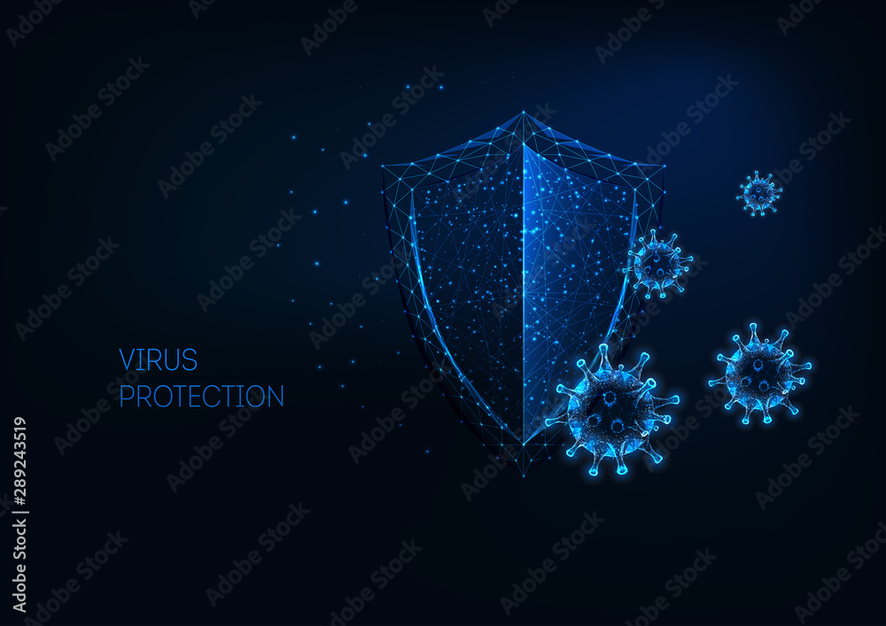 Fototapeta Futuristic virus protection concept with glowing low polygonal shield and virus cells.