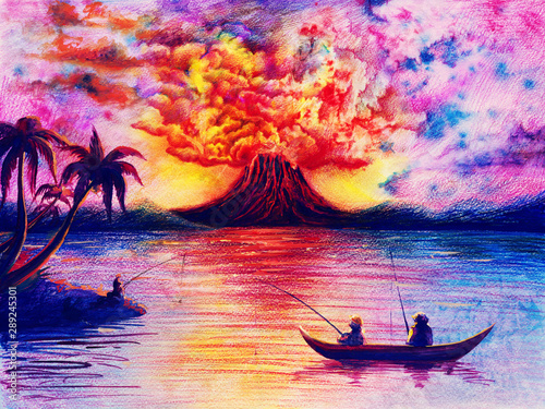 Fotomural Watercolor landscape with volcano, lava and smoke, colorful sky, dark silhouette