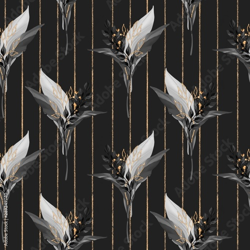 Monochrome seamless pattern with leaves and stripes. Background for wrapping paper, wall art design