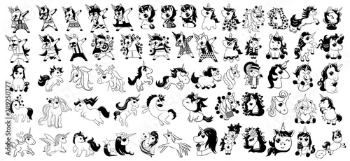 Photo unicorn vector set clipart design