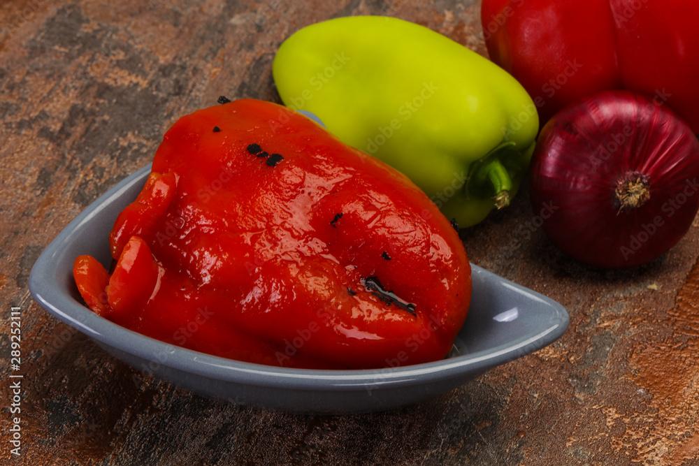 Leinwandbild Motiv - Andrey Starostin : Marinated baked red bell pepper