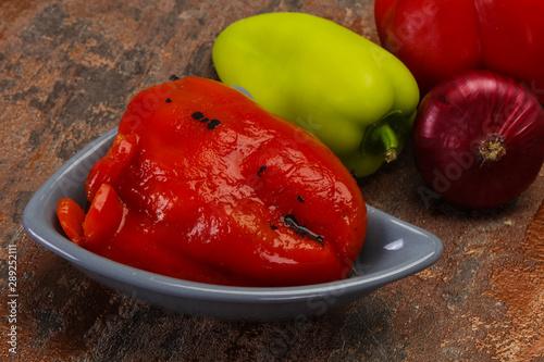 Türaufkleber Logo Marinated baked red bell pepper