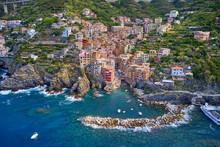 Panorama View Of Riomaggiore Village One Of Cinque Terre In La Spezia, Italy. Flight By A Drone.