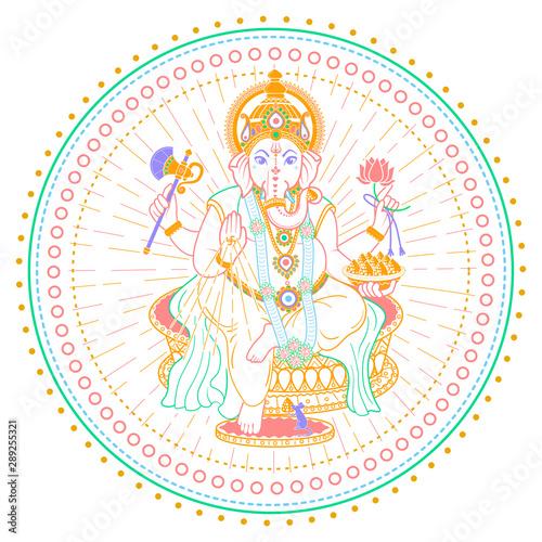 Ganesh Chaturthi linear style icon Fototapet