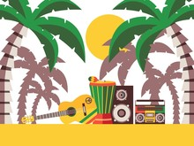 Reggae Music Beach Party, Vector Illustration. Musical Instruments On The Sand Under Palm Trees. Guitar And Percussion For Jamaican Reggae Music Festival