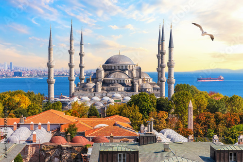 Photo sur Toile Con. Antique The Blue Mosque of Istanbul, beautiful view