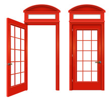 Red English Telephone Booth Set