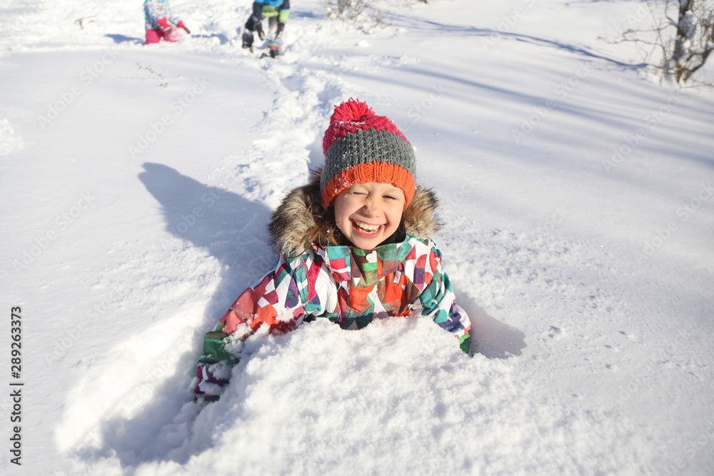 Leinwandbild Motiv - yanlev : kids in winter time