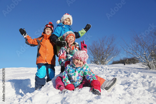 Poster Glisse hiver kids in winter time
