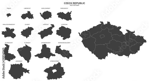 Photo  political map of Czech Republic on white background