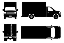 Delivery Truck Black Icons Vec...
