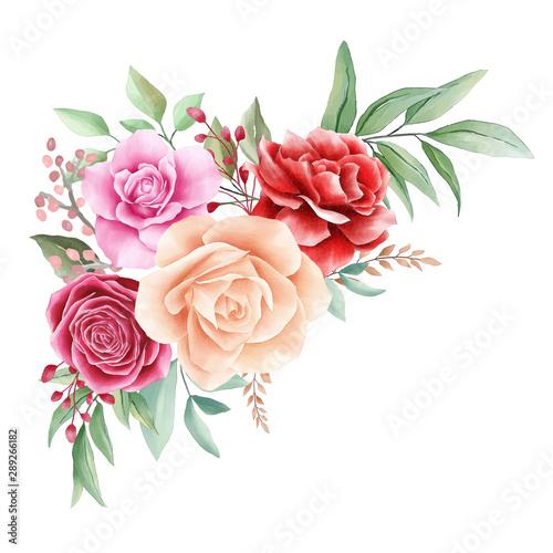 Photo  Romantic watercolor flowers arrangements decorative