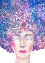 Dipinto Femminilità. Dipinto Acquerello Bella Donna Con Occhi Chiusi