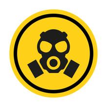 Gas Hazard, Ware Respirator, Dust Hazard Warning Yellow Sign Vector Icon Isolated On White Background.