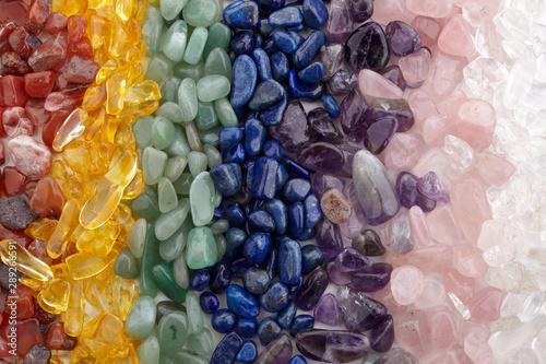 Healing Chakra Crystals Banner - Chakra colored tumbled healing stones Fotobehang