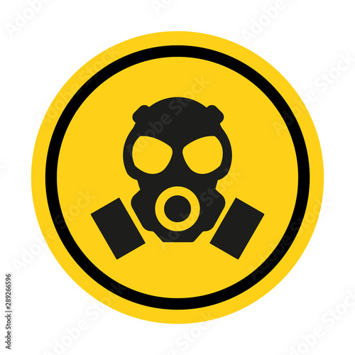 Gas hazard, Ware Respirator, Dust hazard warning yellow sign vector icon isolated on white background Canvas Print