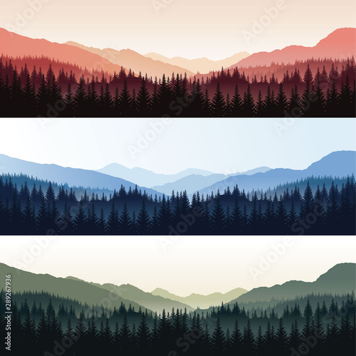 Vector set of landscapes with forest and misty mountains in different colors - 289267936