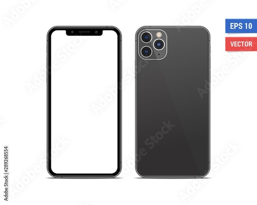 Tela  Realistic vector flat mock-up smartphone with blank screen isolated on white background