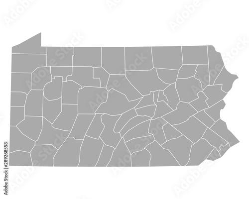 Stampa su Tela Karte von Pennsylvania