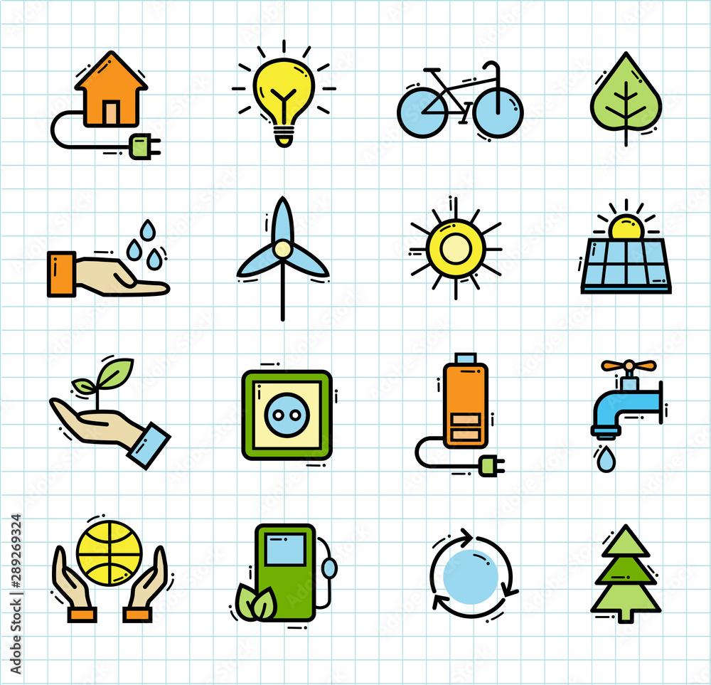 Fototapeta Ecology Icons, Organic Natural Symbols