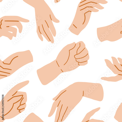 Fotomural  Hands on white seamless pattern