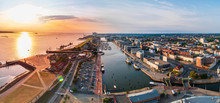 Sunset In Bremerhaven With Houses And Ships